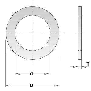 Kольца редукционные для пил D = 25,4 d = 22,2 T = 2,3 (299.219.00)