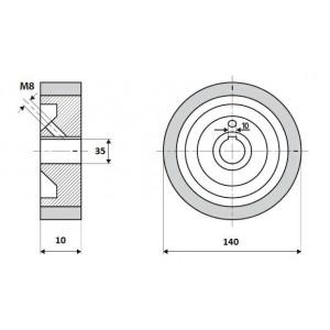 Ролик 140-10-35-10 V резинка 70 ShA коричневый