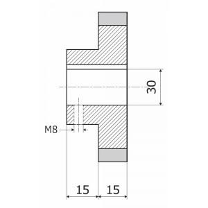 Ролик 140-15-30-8 резинка XX ShA (L = 30)