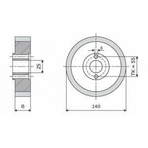 Ролик 140-20-25 V резинка 70 ShA коричневый WADKIN