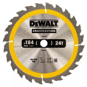 Диск пильний DeWALT CONSTRUCTION, 184х16 мм, 24z (ATB) + 16 град