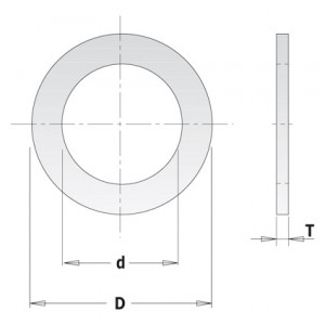 Kольца редукционные для пил D = 30 d = 15,87 T = 1,4 (299.211.00)