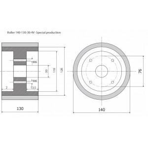 Ролик 140-130-30-4V резинка LEC - prod. spec