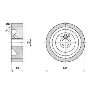 Ролик 140-15-35-10 V резинка 70 ShA коричневый Weinig / Leadermac