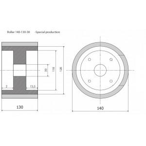 Ролик 140-130-30 резинка LEC - prod. spec