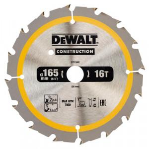 Диск пильний DeWALT, CONSTRUCTION 165х20 мм, 16z (ATB) + 20 град