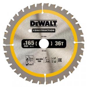 Диск пильный DeWALT, CONSTRUCTION 165 х 20 мм, 36 z (ATB), 20 градусов