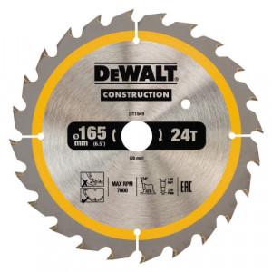 Диск пильний DeWALT, CONSTRUCTION 165х20 мм, 24z (ATB), +20 град