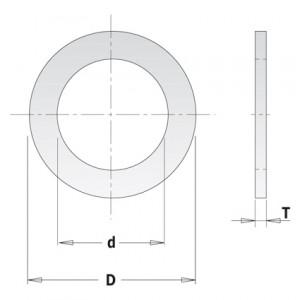 Kольца редукционные для пил D = 30 d = 16 T = 2,0 (299.226.00)
