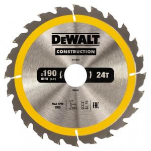 Диск пильний DeWALT, CONSTRUCTION 190х30 мм, 24z (ATB) + 16 град