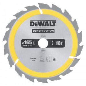 Диск пильний DeWALT CONSTRUCTION, 165х20 мм, 18z (ATB) + 20 град