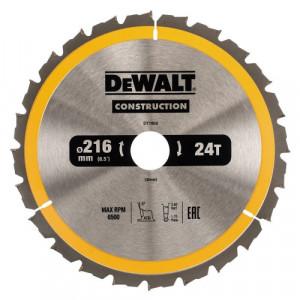 Диск пильний DeWALT, CONSTRUCTION 216х30 мм, 24z (ATB) - 5 град